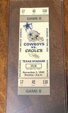 1992 Super Bowl Champions Dallas Cowboys Eagles FULL Unused NFL Ticket Stub