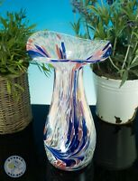 "LARGE IRIDESCENT SPATTER VASE 9"" TALL HAND BLOWN"