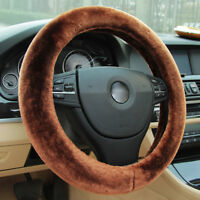 Universal Brown Winter Car Warm Wool Steering Wheel Cover Woolen Comfortable
