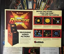 2 FACTORY ORIGINAL 1982 GOTTLIEB REACTOR VIDEO GAME FLYERS NEW OLD STOCK