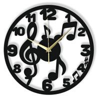 Wanduhr Musiknote Musik Silent Nicht-Ticking Schwarz Hellgrau Geschenk 114