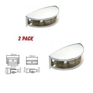 2X Oval Chrome Shelf Bracket Glass Shelf Wood Shelves Holder Bracket  3-10mm