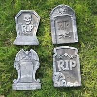 6pcs Halloween Foam RIP Graveyard Tombstones 5 Pack Headstone Metal Stakes Decor