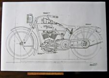 HARLEY DAVIDSON early J Military Motorcycle Engine DIAGRAM BLUEPRINT Art Poster