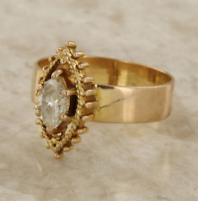 Vintage solitario diamante anillo 18ct Oro Amarillo Talla L 1/2