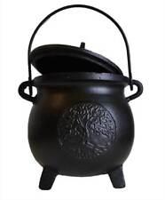 "Tree of Life Black Cast Iron Medium-Size 8"" Tall Pot-Belly Cauldron Pot with Lid"