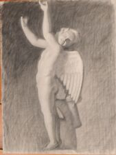 France 1890: The Ghostly Angel, Large and Striking Charcoal Study