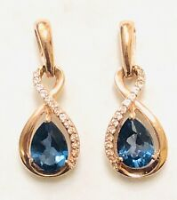 Aneri 10K RG London Blue Topaz and Diamond Earrings