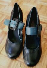 Tamaris black & teal strappy Mary Jane shoes heels pumps leather 39 US 8.5 UK 6