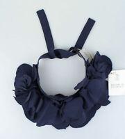 NWT BRUNELLO CUCINELLI Women's Navy Blue Silk Blend Flower Neck Collar  $1245