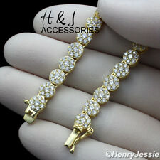 """30""""MEN 925 STERLING SILVER 5MM GOLD ICED 1 ROW FLOWER CLUSTER CHAIN NECKLACE*G15"""