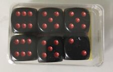 NEW German Precision Dice Set of 6 D6 16mm Black w/ Red Pips Kings Cards