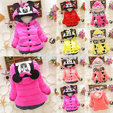 Baby Kids Girls Minnie Mouse Hoodies Jacket Coat Winter Warm Cartoon Outerwear