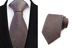 Tie Brown Orange Blue Handmade 100% Silk Wedding 8cm Width Necktie