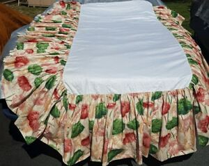 """Tropical Daybed Twin Size Bedskirt 19"""" Botancial Floral Cotton Lined"""