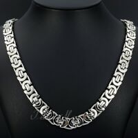 """Men's Silver Flat Byzantine Chain Necklace Stainless Steel 11mm 18""""-36"""""""