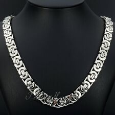 "11mm Men's Silver Flat Byzantine Chain Necklace 316L Stainless Steel 18""-36"""