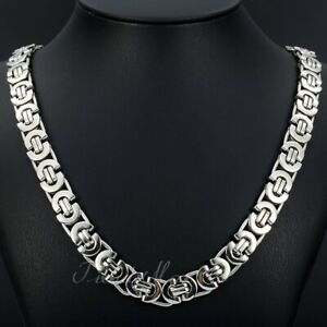 """11mm Men's Silver Flat Byzantine Chain Necklace 316L Stainless Steel 18""""-36"""""""