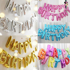 HAPPY BIRTHDAY 16 inch SELF-INFLATING BALLOON BANNER BUNTING PARTY LARGE BALOONS
