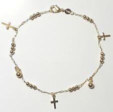 "Rosary Ankle Bracelet 10"" inch Long Gold Filled Crosses and Balls Anklet  # 33"