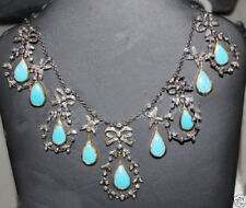 925 Sterling Silver Rose Cut Vintage Style Natural Diamond & Turquoise Necklace