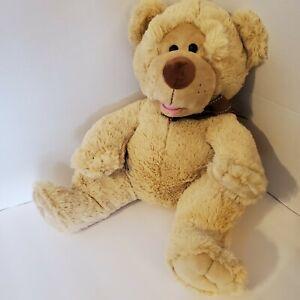 "Ganz 15"" Brown Bow Tan Teddy Bear Plush Lovey Toy Very Soft Clean Huggable"