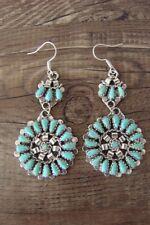 Navajo Sterling Silver Turquoise Cluster Dangle Earrings - Leander Nez