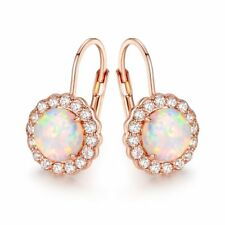 18K Rose Gold Plated White Fire Opal & Cubic Zirconia Flower Huggie Earrings