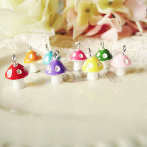 30Pcs Mix Color Mushroom Pendant Resin Jewelry DIY Craft  Bracelet Earrings 12mm
