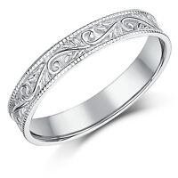 9ct White Gold Ring Swirl Patterned Wedding Ring 3.5mm Band