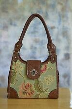 Linen Fabric Panel Hobo Shoulder Bag Satchel Purse w/ Faux Croc Trim Double Zip
