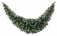 2.1m Christmas Party Frosted Green Pine Cones Tinsel Swag Garland Decoration