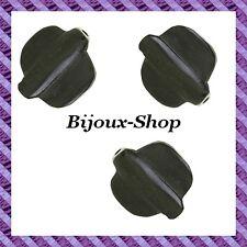 6 Perles bois naturel Bombé noir  26mm