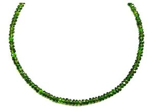 Chrome Diopside Necklace Green Faceted Dainty Solid Strand Sterling Silver 18 19