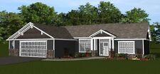 Custom Home House Plan 2,015 SF Ranch, 3 BR, 2 Bath, Blueprint Plans #1457
