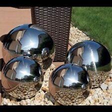 4 Shiny Gazing Balls Stainless Steel Chrome Reflective Mirror Garden Lightweight