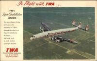 TWA Trans World Airways Linen Adv Postcard SUPER CONSTELLATION AIRPLANE
