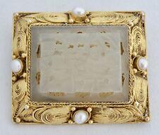 CHINESE GOLD VERMEIL STERLING FILIGREE PEARL CARVED JADE FIGURAL PENDANT BROOCH