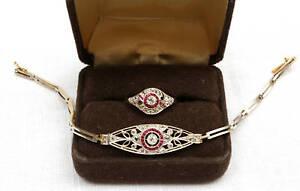 MAGNIFICENT EDWARDIAN FRENCH , 14K  GOLD BRACELET RUBY DIAMOND & RING  SIZE 7.25
