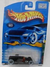 057 57 BLACK FLAMES TRACK T WHITE WALLS RAT ROD  RODS STREET 1 4 HW HOT WHEELS