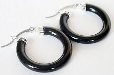 Hoop Black Agate Earrings Hot Gift New Fashion Women 925 Sterling Silver Ear