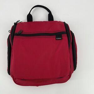LL Bean Hanging Travel Toiletry Personal Organizing Bag Red/Black Nylon Size M