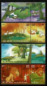 INDIA 2001 SG 2027-2034 Stories from Panchatantra Monkey, Lion, Crows MUH