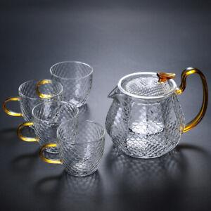 Hammer Pattern Glass Tea Pot Kettle Set Infuser Teapot 20oz with 4 Tea Cups 5oz