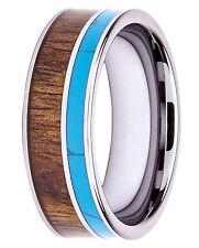 8MM Tungsten Carbide Ring Natural Hawaiian Koa Wood Turquoise Inlay Wedding Band
