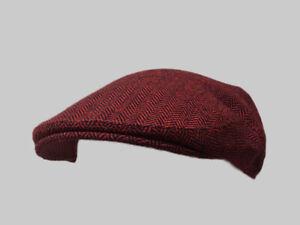 CHERRY RED HERRINGBONE FLAT CAP,CLOTH CAP,GOLF CAP WINDSOR FLAT CAP FARMER,CABBI