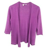 Eileen Fisher Cardigan Sweater Womens Size S Small Knit Purple Linen Open Front