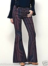 NWT Free People wine black Eve Hippie Stripe Print Corduroy Flare Jeans 25 $128