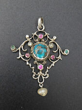 Superbe pendentif ancien argent massif turquoise pierres et perle baroque XIXeme