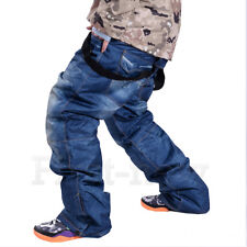 Mens Winter Denim Waterproof Skis Pants Sports Outdoor Trousers Thick Snow Pants